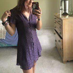 Francesca's Lavender Lace Button up dress